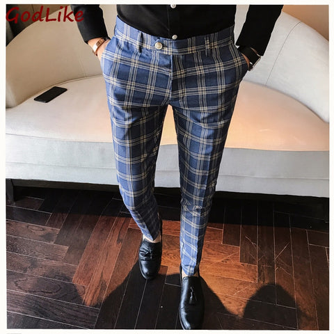 100% High Quality Plaid Formal Mens Slim Fit  Pants Fashion Casual Brand