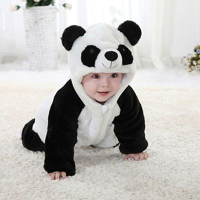 New Arrival  Baby Boy Girl panda Hooded Zipper Rompers Cute Baby Warm Costume  Panda Climbing Pajamas Romper Coverall