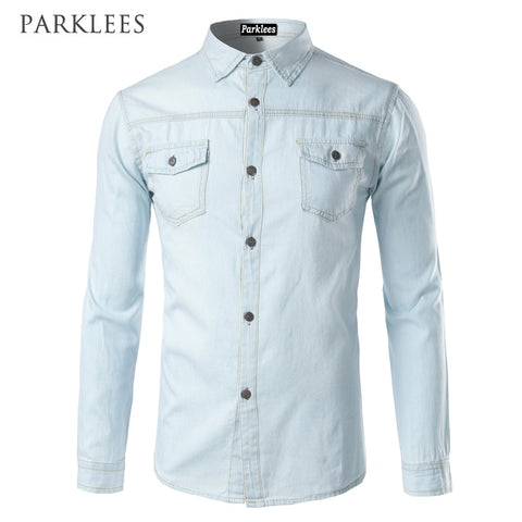 Fashion Flip Pockets Mens Slim Fit long Sleeve Denim Shirts Camisa Masculina
