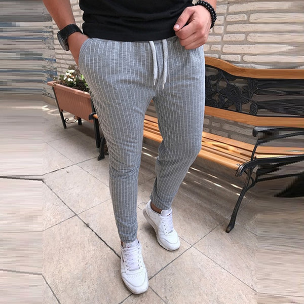 New Striped Pencil Casual Drawstring Male Street Fashion Breathable All-match Pants
