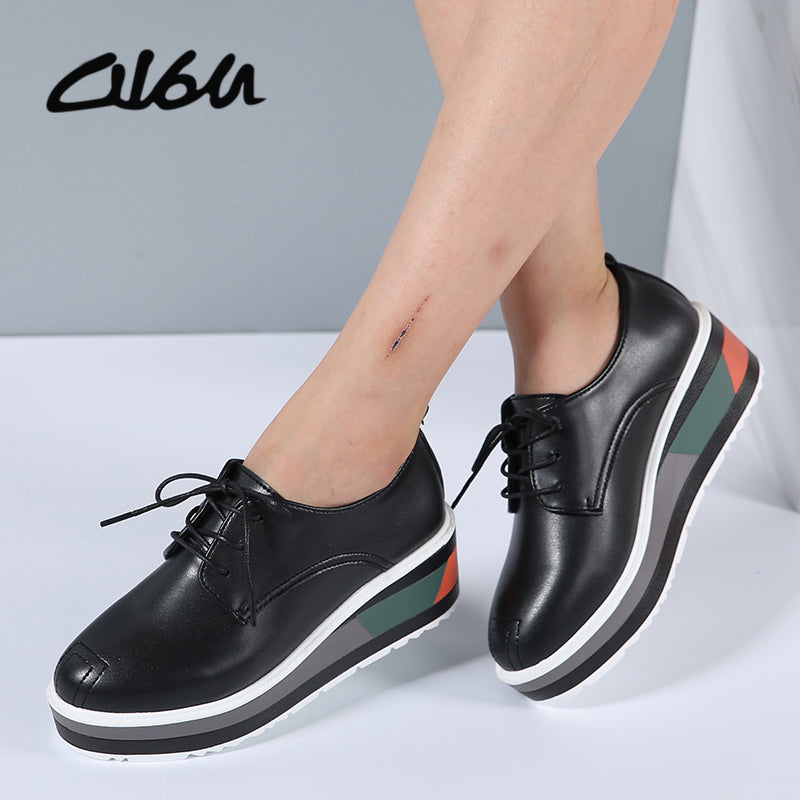 Autumn New Fashion Womens Black Platform Heels Lace UP Shoes Canvas Shoes US 7