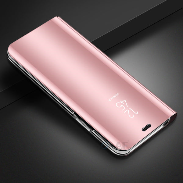 OLAF Luxury Electroplating Mirror Phone Case for iphone X 6S 7 8 Plus Fashion eather Smart Clear View Flip Stand Cover Phone Bag