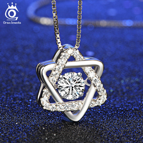 Silver Women Star Pedant Necklaces with Charming Movable Fashion Fine Jewelry Christmas Gift