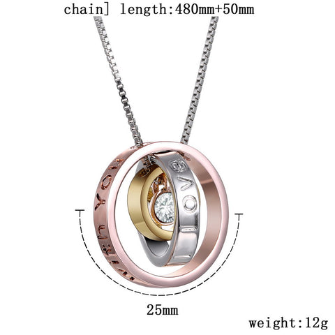 "Pendant Necklace Clear Stone Crystal with Box Chains Engraved""I Love You Mom Always be with you"" Words Rose Gold"