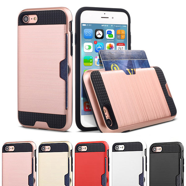 Luxury Shockproof Armor Hard Silicone Cover for iPhone7 iPhone 6 6s 7 8 Plus Wallet Card Holder Case Heavy Duty