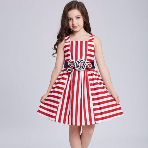 Princess Summer Dress Girls Clothes with Stereo Flower Belt Kids Striped Dresses