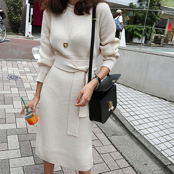 New Winter Kintted Sweater  Women Sweet Elegant Pullover O-Neck Long Sleeves Mid-Calf Pencil Dress