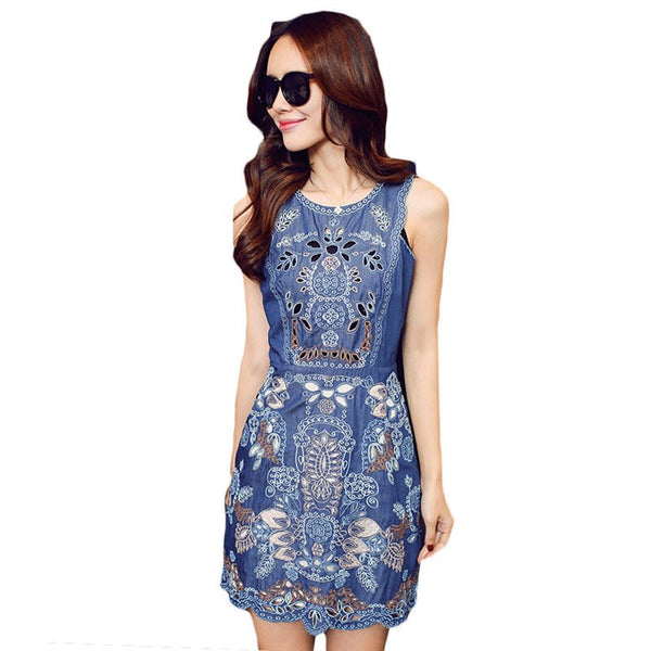 Summer Slim Elegant Floral Hollow Out Casual Cowboy Vest Dress