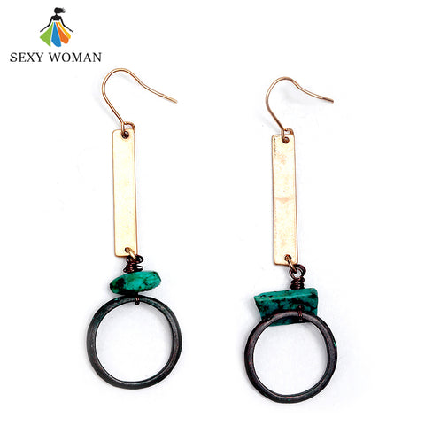 SEXY WOMAN Lady Retro Natural Stone Long Pendant Earrings Antique Gold Charm Bohemian Earrings for Women High Quality Jewelry