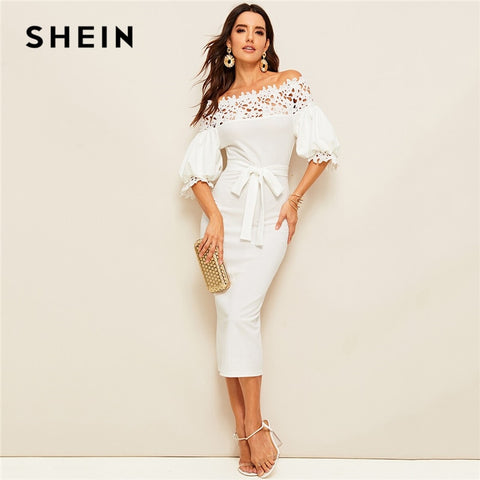 Guipure Lace Women White Pencil Summer Off Shoulder Solid Belted Bodycon Dresses