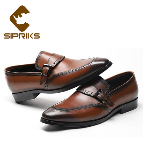 Mens Genuine Leather Slip On With Buckle Elegant Black Brogues Shoes Square Toe Business Office Gents Shoes