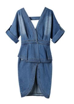 Sexy Elegant Women Denim Runway Double V neck Backless Ruffle Sash Wrap Midi Dress Front Split Ladies Jeans Vestidos