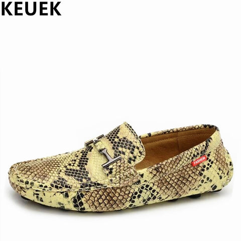 Snake Pattern leather Fashion Men's Flats Breathable Driving Casual Loafers Boat shoes