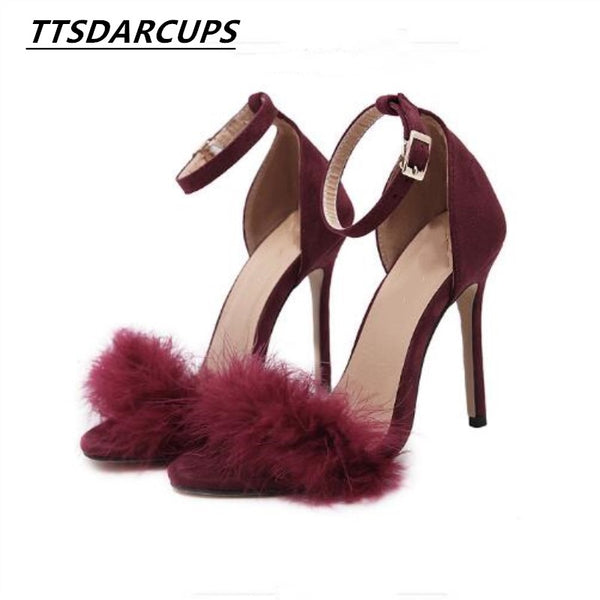 TTSDARCUPS 2017 New Women 10cm/3.94inch Fashion Real Fur Ankle Strapy High Heel Sandals Women Shoes Summer Shoes Fur Sandals