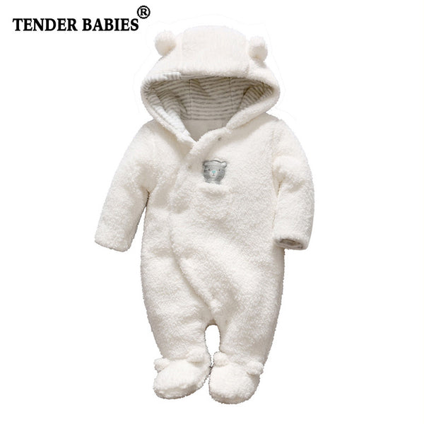 Newborn baby clothes bear baby girl boy rompers hooded plush jumpsuit winter overalls for kids roupa menina