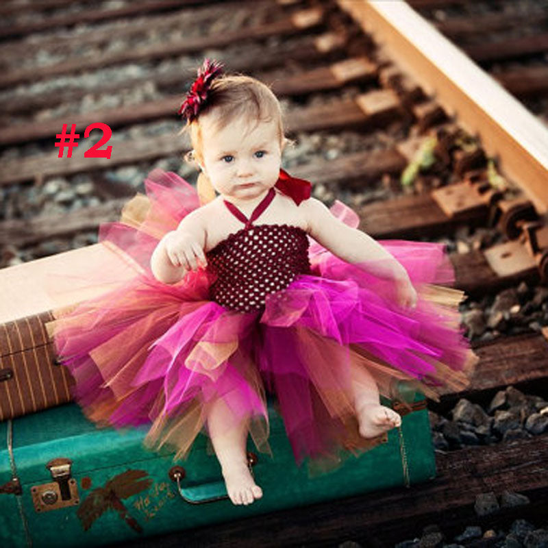 4d2d907d4 ... Toddler Girls Fancy Princess Tutu Dress Holiday Flower Double Layers  Fluffy Baby Dress with Headband Photo ...