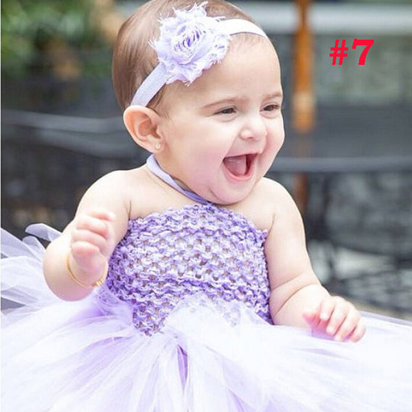Toddler Girls Fancy Princess Tutu Dress Holiday Flower Double Layers Fluffy Baby Dress with Headband Photo