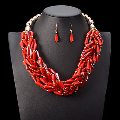 African beads jewelry set multi layer bead crystal choker necklace women statement Nigerian wedding bridal jewelry sets