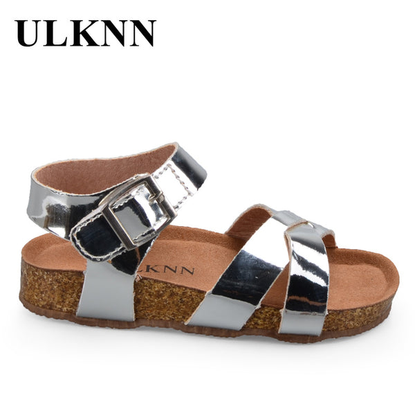 Children Gladiator Glitter PU leather  Beach School Shoes 2018 New Roman sandals girl boy