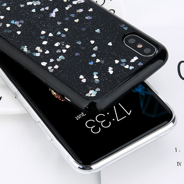 For iPhone 6 6s Plus Case Glitter Love Heart Star Phone Cover Soft TPU Clear Back Cases For iPhone X 6S 7 8 Plus 5 5s SE