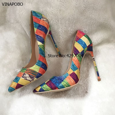 Women Pumps Colorful Plaid Striped Pointed Toe Shallow Footwear