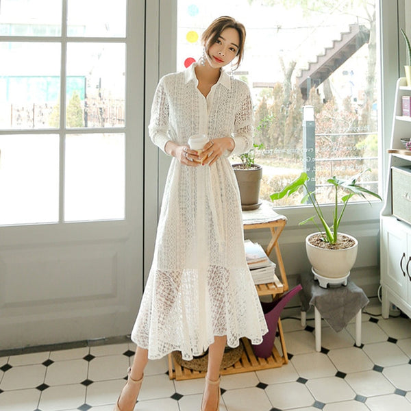 Vintage Hollow-out Lace Women Long Dress Single Breasted  Elegant Mermaid Full Sleeve Autumn Vestidos femme