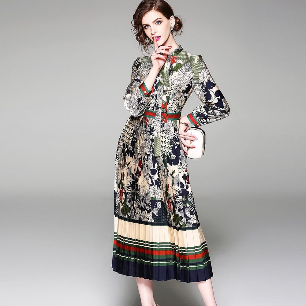 Woman Dress Vintage Bow neck Full Sleeve Chiffon Ladies Elegan Female Street Style Dresses