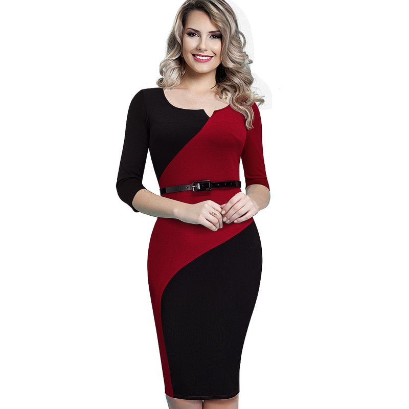 Women Casual Elegant Work Business Office Belted Colorblock Contrasting Fitted  Bodycon Pencil Dress dbbd0005d