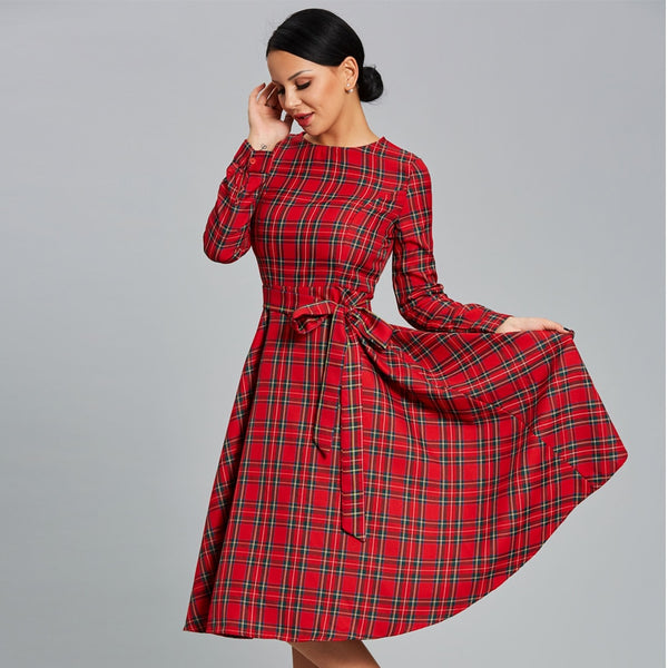 Women Red Plaid Dress long sleeve office dress sashes fashion European tunic vintage casual autumn a-line swing midi dress