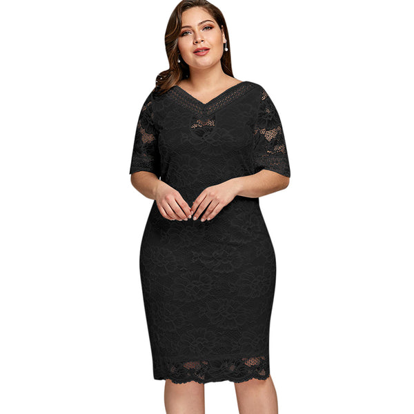 Elegant Plus Size V Neck Half Sleeve Lace Bodycon Dress Casual Party Midi Dress  5XL