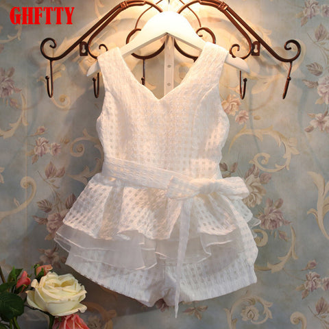 summer fashion children's vests set suit 2~7 years old children clothing for girl