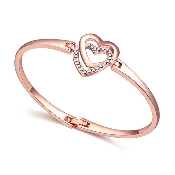 high quality double heart bangle austrian crystal bracelets rose gold  color bangle for girl bracelet pulseras