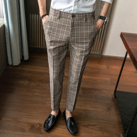 men's slim straight casual personalized striped plaid  fashion men's trousers