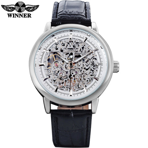 luxury sports mechanical watches leather strap men's hand wind skeleton silver case watches