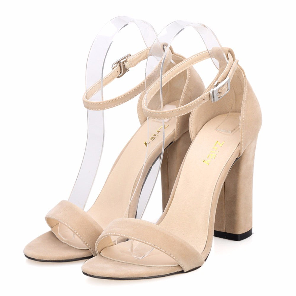 ef3f39040a6 ... Womens ladies high heel block buckle barely there strappy sandals shoes  size ...