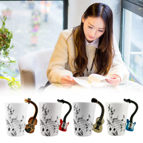 Ceramic Mug Cup Musical Instrument Note Style Coffee Milk Cup