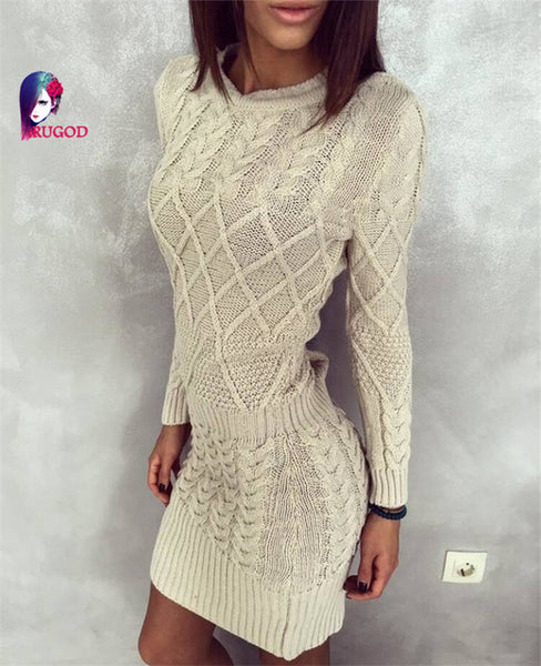 Fashion Winter Women Sweater Long Sleeve Knitted Bodycon Stretch Brief Casual Dress