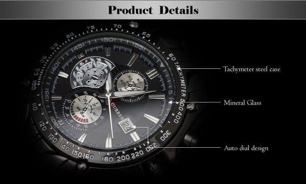 fashion auto Date full steel Watch Military Man Business Casual quartz Wristwatch