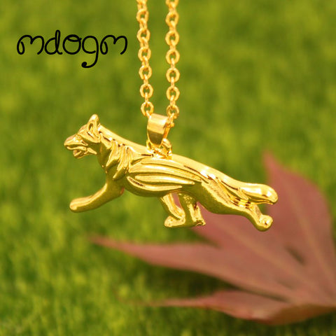 2017 Cute German shepherd Necklace Dog Animal Pendant Gold Silver Plated Jewelry For Women Female Girls Kids Ladies N060
