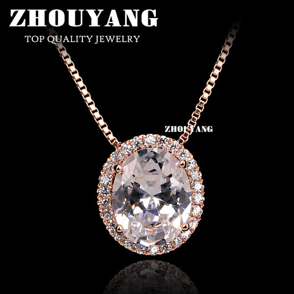 Top Quality Crystal Necklace Rose Gold Color Fashion Jewellery