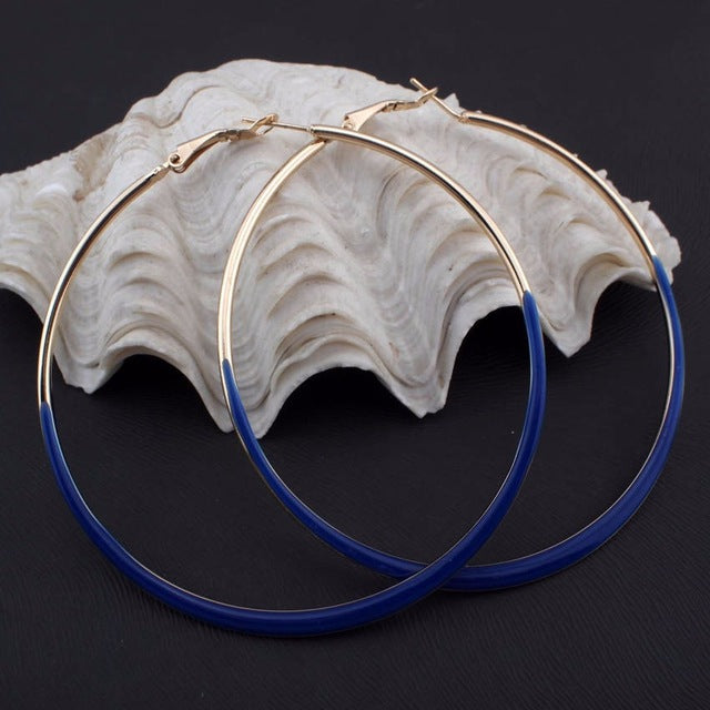 Fashion Jewelry 75mm Diameter oil-spot glaze Big Hoop Earrings 4 Neon Colors Indian Costume Jewellery