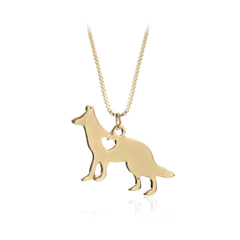 LOVE German Shepherd Dog Casting Silver or Gold Pendant Necklace Jewelry