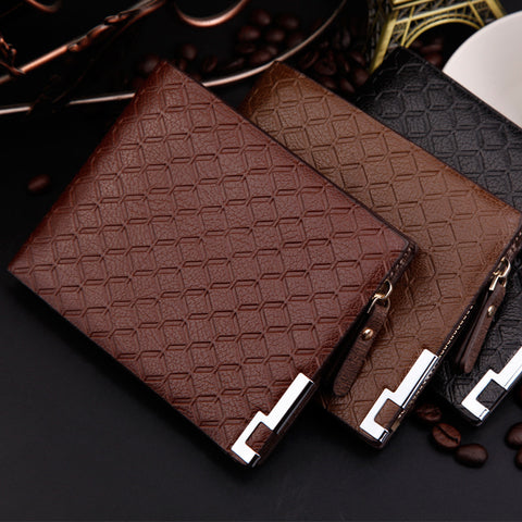 Fashion Men Quality Leather Business Cross Lattice Square 3 Folds Zipper Pocket Card Holder Wallet Purse