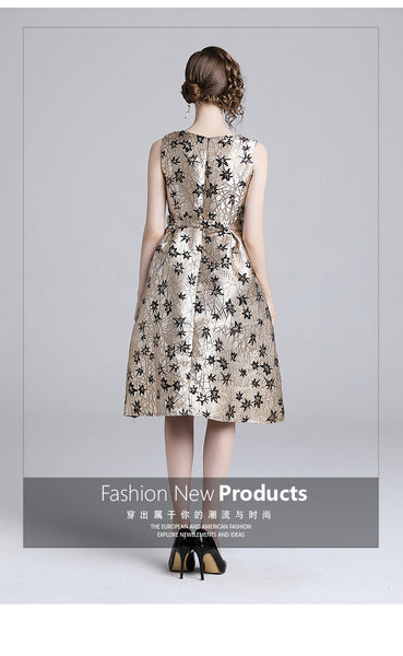womens ladies cute Designer spring autumn winter runway 3D Flower Jacquard Fabric Floral belt A-line Skater Cockdresstail party