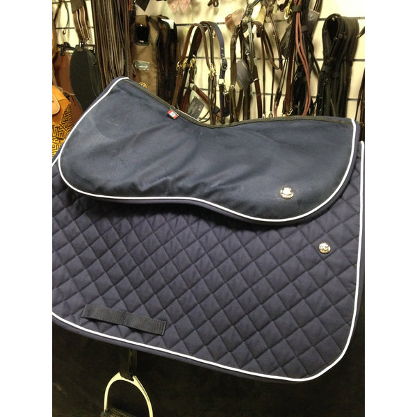 Ogilvy Jump Memory Foam Half Pad Grey with White Piping and Black Binding
