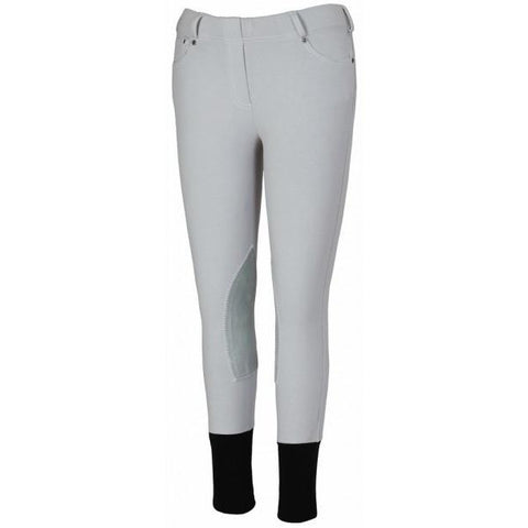 TuffRider Children's Newbury Pull On Breeches with Contrast Stitching-Light Grey