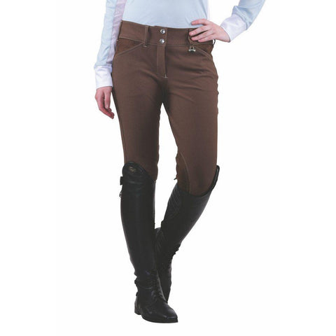 Equine Couture Ladies Sportif Natasha Knee Patch Breeches Chocolate/Tan