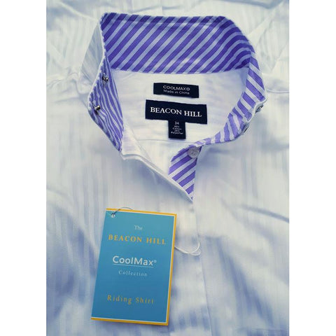 "Essex Classics Beacon Hill CoolMax Collection Show Shirt ""White/Lavender Stripes"""