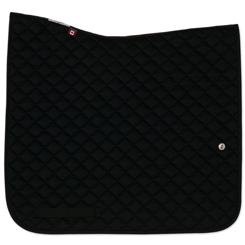 Ogilvy Dressage Profile Pad Black with Orange Piping and Black Binding