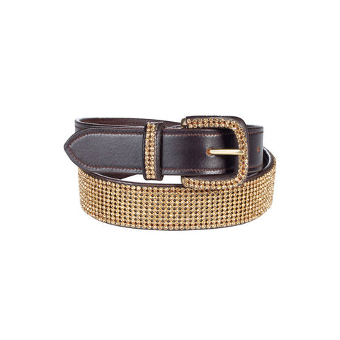 Horze Wide Crystal Belt Dark Brown